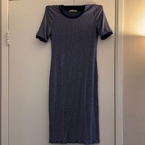 Blue stripes body fitted dress